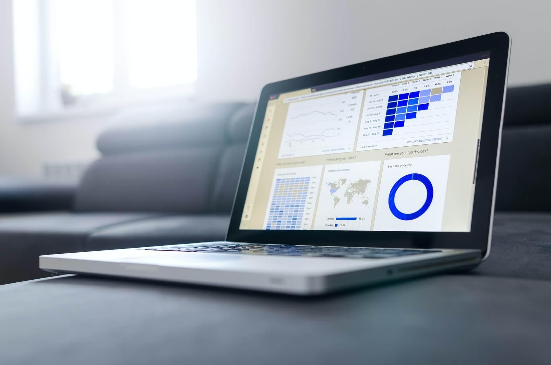 Laptop showing analytics data