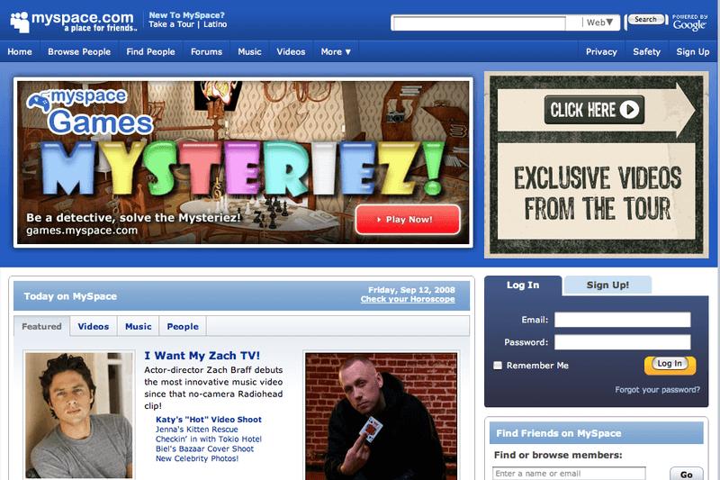 Image of Myspace homepage