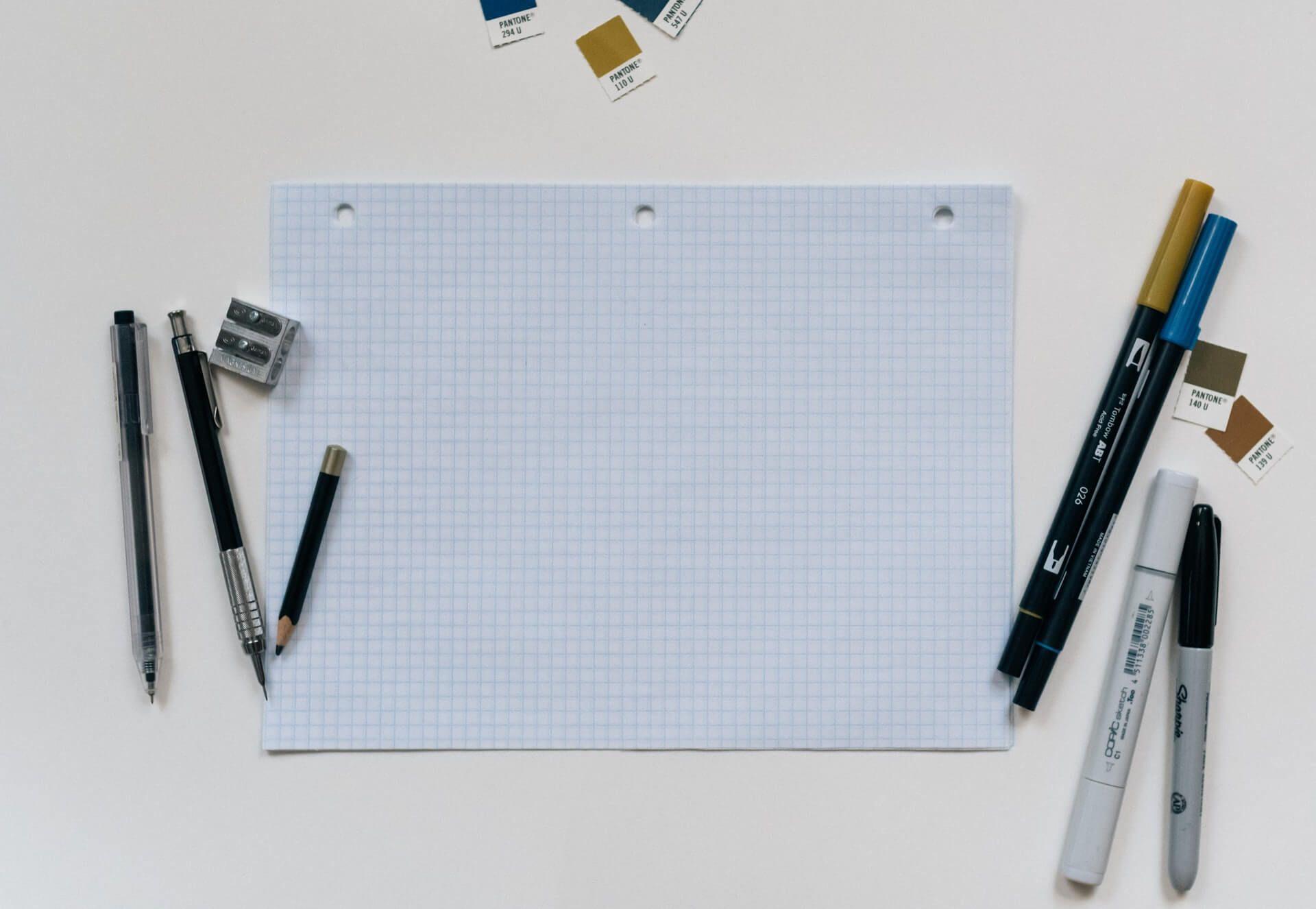 paper, pens and pencils