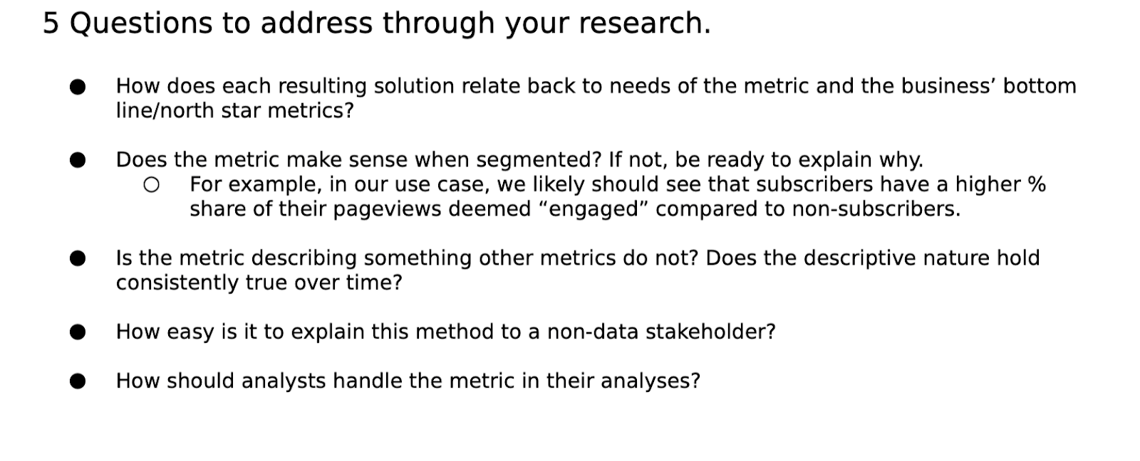 5 questions to address your product metrics research