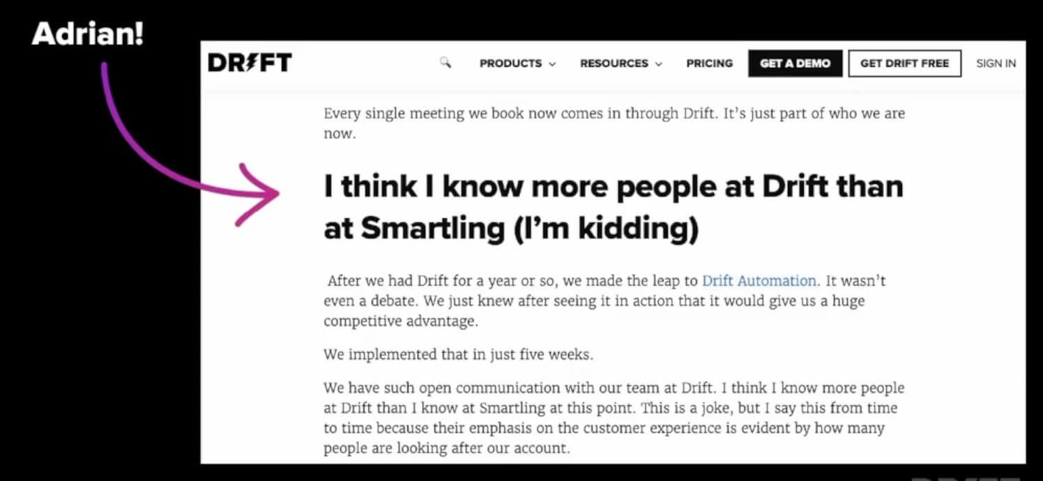 Drift customer quote