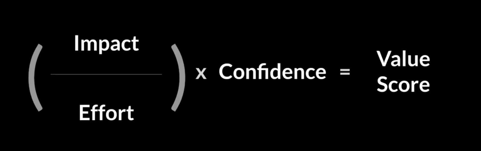 impact and effort x confidence = value score