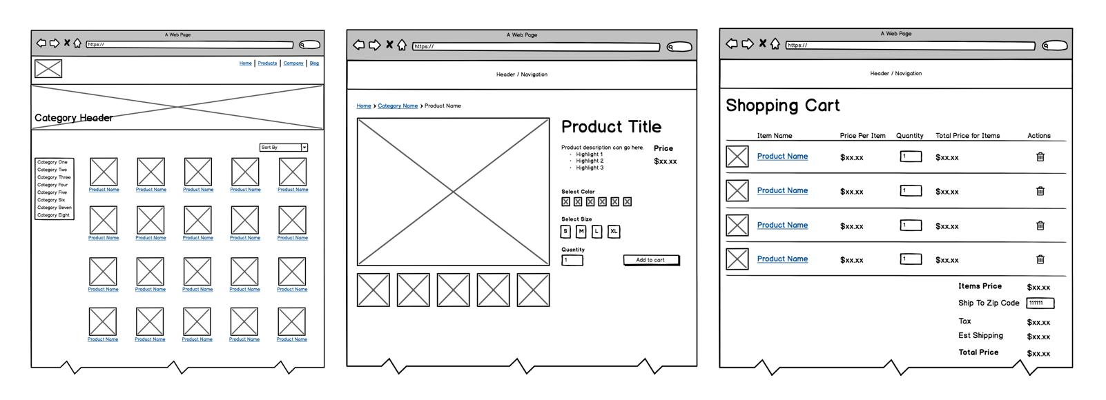 Three key screen examples